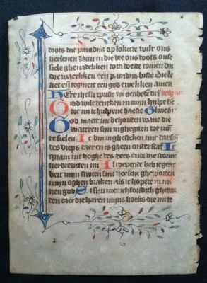 Original Leaf from a Fifteenth Century Dutch Book of Hours. Book of Hours.