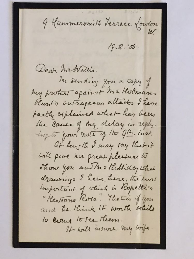 Autograph Letter Signed (with Signed Pamphlet by Stephens sent with letter). Frederic George- ALS Stephens.