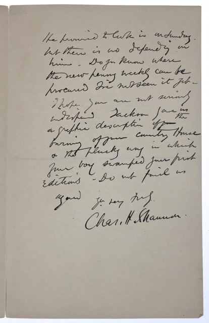 Autograph Letter Signed. Charles- ALS Shannon.