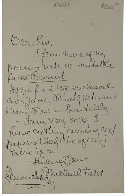 ALS- Field, Michael] Autograph Letter to famed editor Gleeson White. Michael Field.