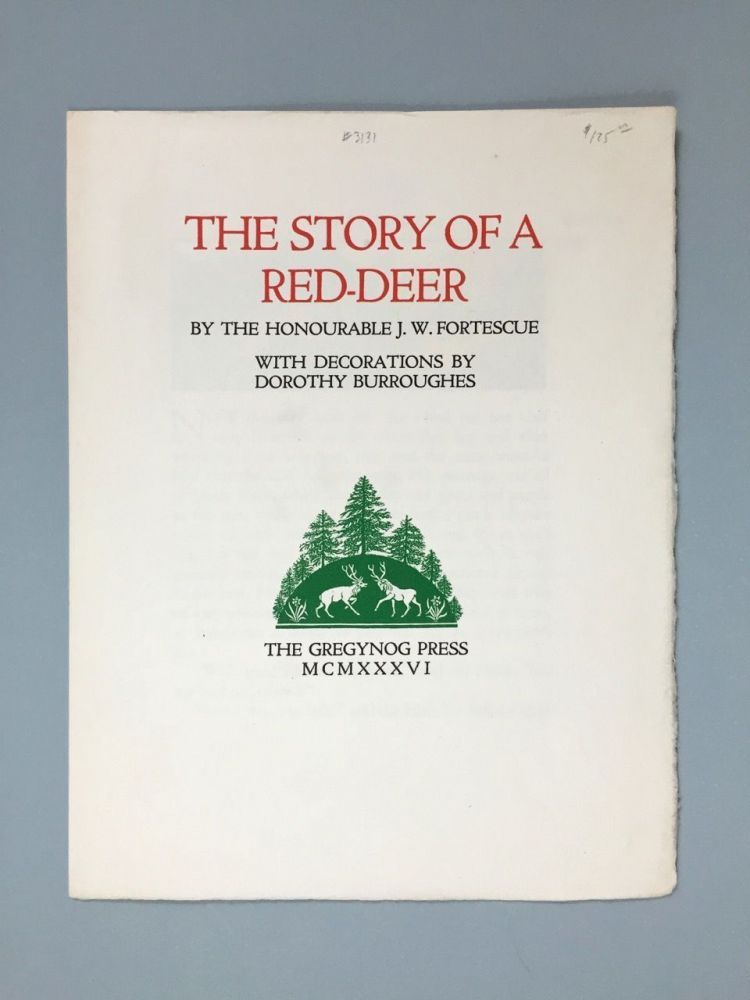"[Gregynog Press] Specimen Pages for ""The Story of a Red-Deer"""