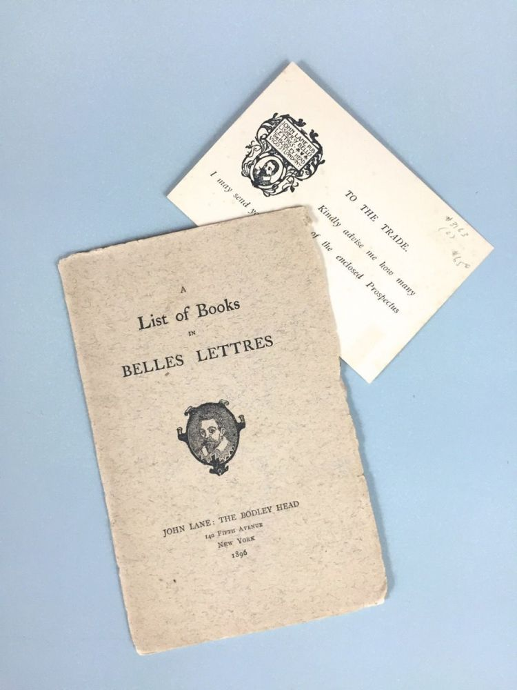 [Bodley Head] A List of Books in Belles Lettres [1896]