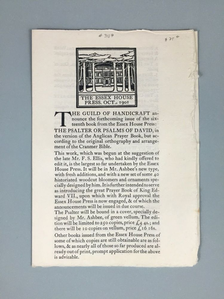 """[Essex House Press] Specimen Pages and Order Form for """"The Psalter or Psalms of David"""""""