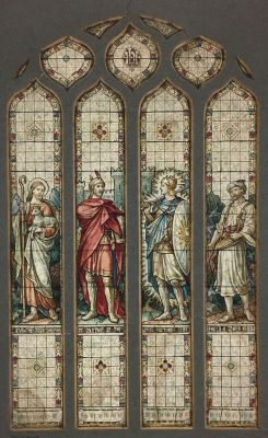 [Pre-Raphaelite Stained Glass Watercolor Design- Thomas WIlliam Camm, Camm Studios] Exquisite Watercolor Four-Part Design for Stained Glass: The Good Shepherd, Captain of the Lords, The Host, The Sower. Thomas William Camm.