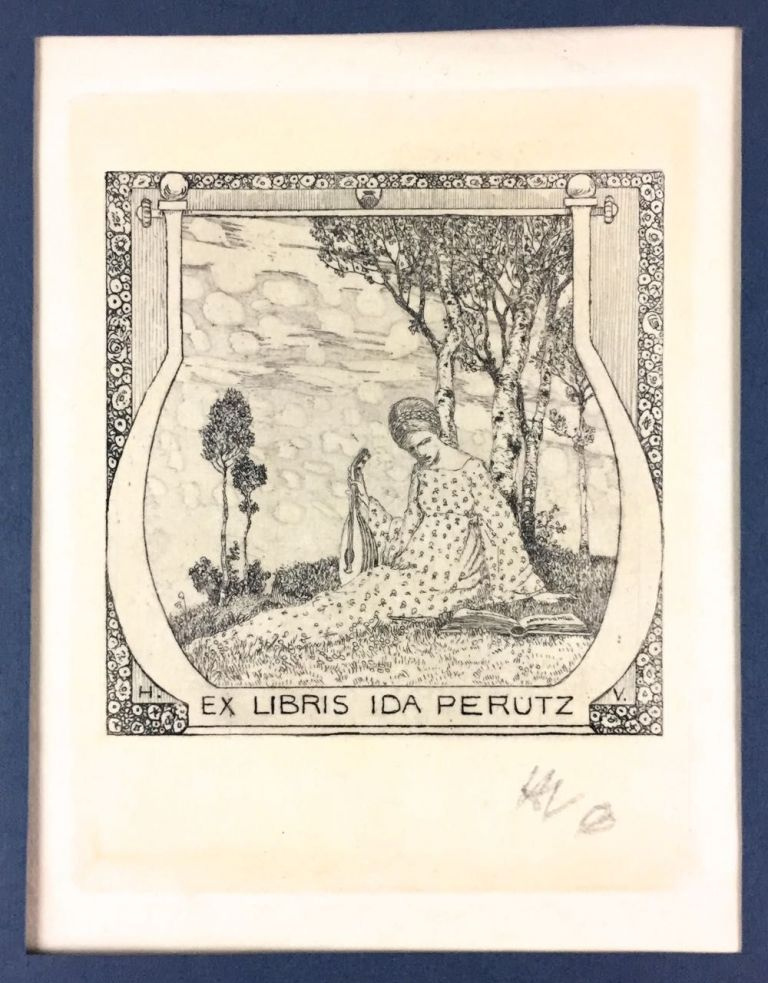 [Vogeler, Heinrich] An Uncut Bookplate of Ida Perutz, designed by Vogeler and Hand-Initialed