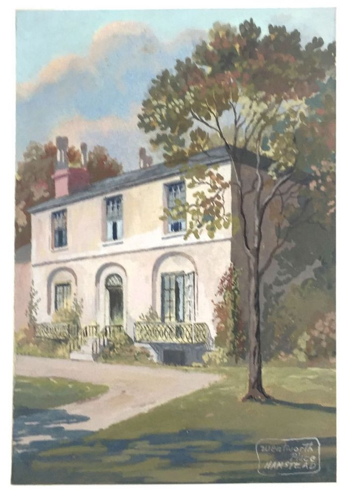 [Day, F. Holland- Original Watercolor by Day] Keats' House at Wentworth Place, Hampstead. F. Holland Day.