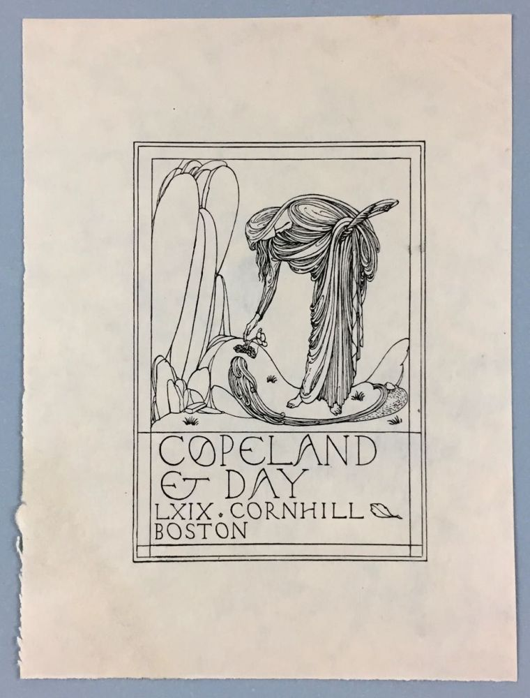 """[Ricketts, Charles- Proof for Copeland and Day Trial Bookplate] """"Copeland & Day, LXIX, Cornhill, Boston"""" Printed Design On proof Paper. Charles Ricketts."""