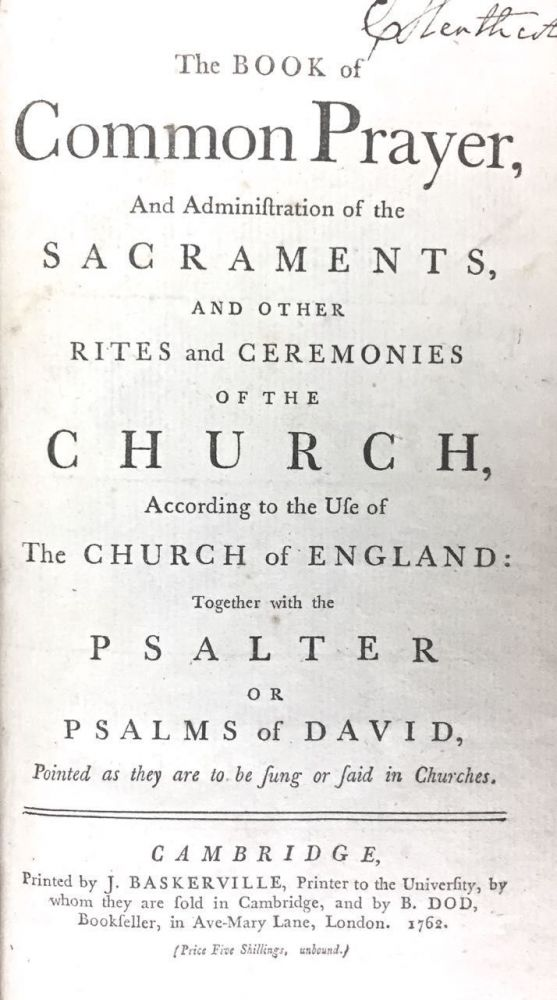 [Baskerville Printing] The Book of Common Prayer... etc.