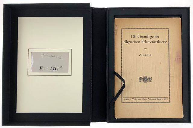 [Einstein, Albert- FIRST EDITION OF THE THEORY OF RELATIVITY, WITH SIGNED FORMULA BY EINSTEIN E = MC2] Die Grundlage der allgemeinen Relativitatsthyeorie. Albert Einstein.