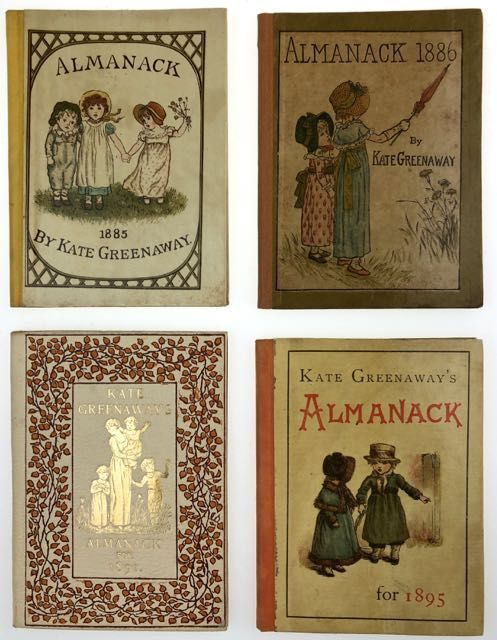 [Greenaway, Kate] Mini-Collection of Four Almanacks, Each in Original Printed Dust Wrapper. Kate Greenaway.