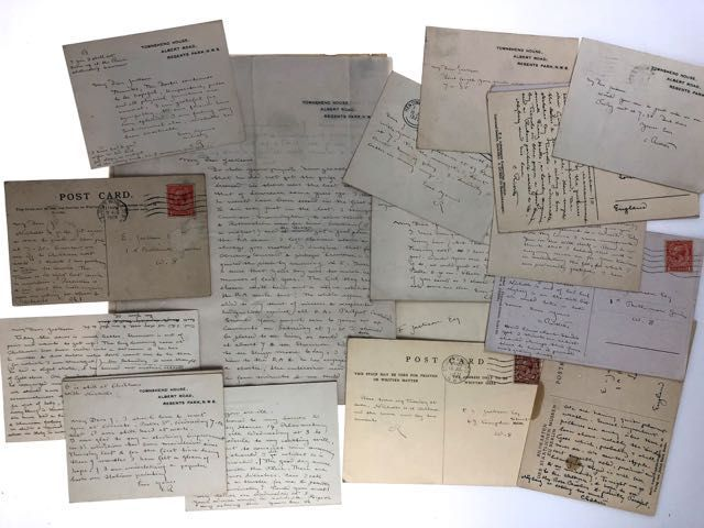 [RIcketts, Charles] Extensive Autograph Letter Archive Comprising 24 Separate Letters: 6 Autograph Letters and 17 Autograph Postcards and One Autograph Note Signed. Charles Ricketts.