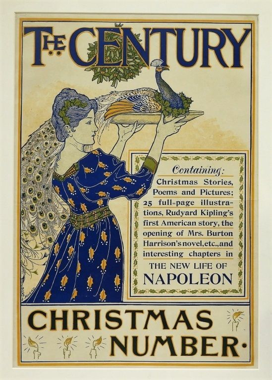 [Rhead, Louis] Original Printed Color Poster for the Century Magazine, Christmas Number, 1894. Louis Rhead.