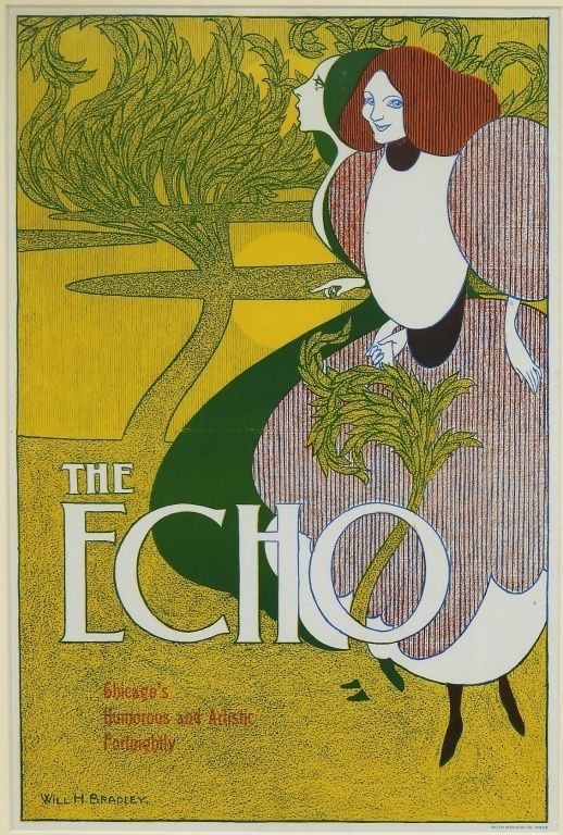 [Bradley, Will H.] Original Printed Color Poster for The Echo, 1895. Will H. Bradley.