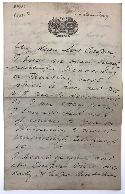 "[Rossetti, Dante Gabriell] ALS. ""Indeed I ought to be embarassed to propose it to Beatrice..."" Important Autograph Letter Signed to Mrs. Cowper (Mrs. William Cowper-Temple), Relating to the Beata Beatrix which William Cowper-Temple Evntually Purchased. Dante Gabriel Rossetti."