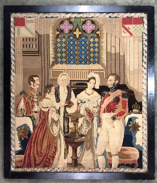 [Victoriana- Textile] Beaded Petit Point of Victoria and Albert
