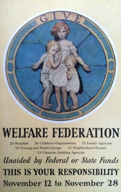 "Poster: ""Give; Welfare Federation"" Jessie Willcox Smith."