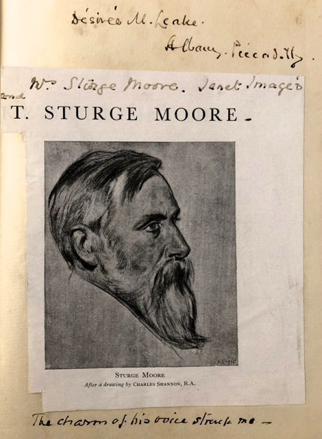 [Moore, T. Sturge- Multiple Holograph Notes and Inscription by Mrs. T. Sturge Moore] THE POEMS OF T. STURGE MOORE. COLLECTED EDITION, THIRD VOLUME. T. Sturge Moore.