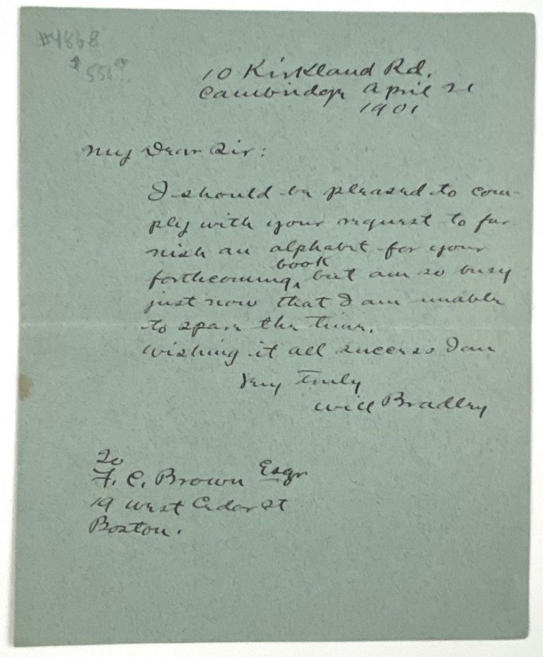 [Bradley, Will H.- Autograph Letter Signed] Scarce ALS to Noted Architect, F. C. Brown. Will H. Bradley.