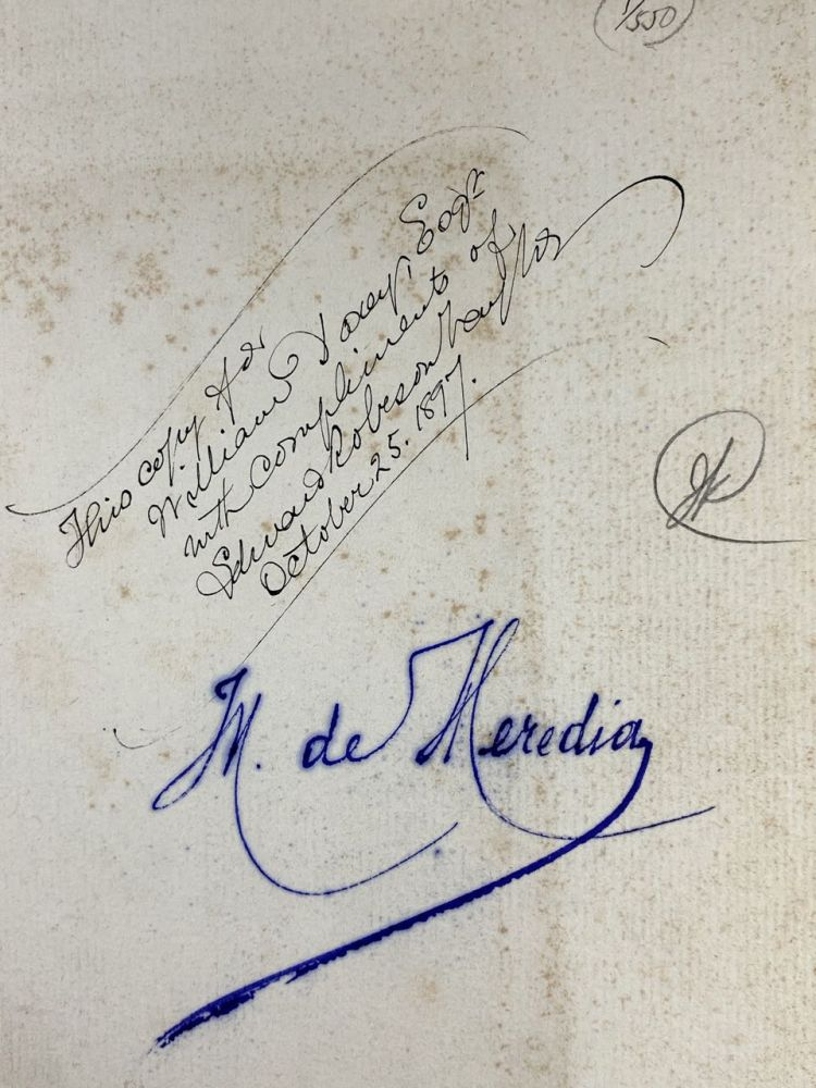 [Doxey Publication- WILLIAM DOXEY'S COPY, Presentation Copy From the Translator, and Further Signed by Heredia] Sonnets of Jose-Maria de Heredia. Jose Maria de Heredia, Edward Robeson Taylor.