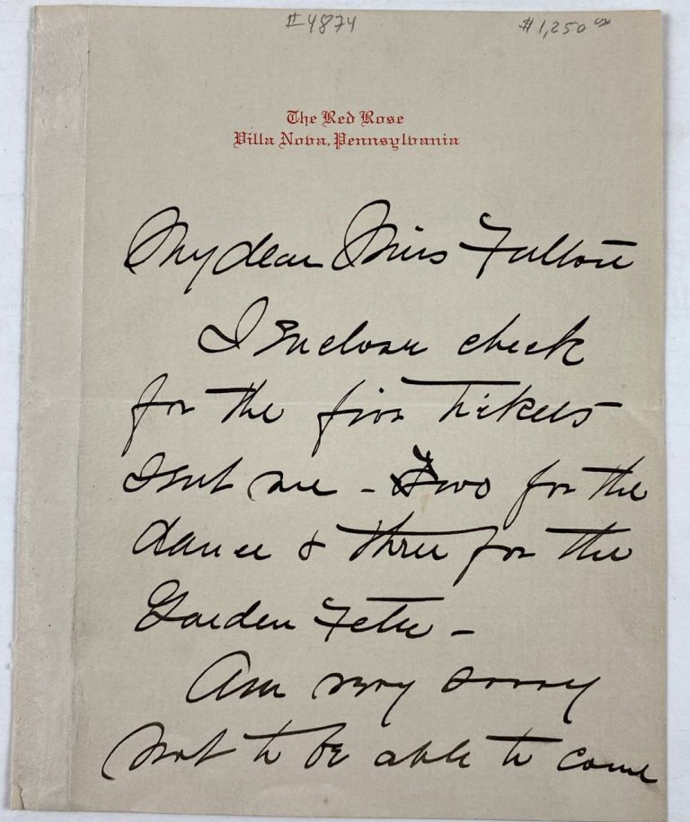 [Smith, Jessie Willcox- ALS] Autograph Letter Signed from Jessie Willcox Smith on Red Rose Stationary. Jessie Willcox Smith.