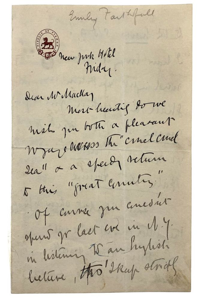 [Faithfull, Emily- Wonderful ALS to Wallis MacKay, Written During Her America Speaking Tour] Lengthy Four-Page Autograph Letter Signed to Wallis MacKay, ca. Emily Faithfull.