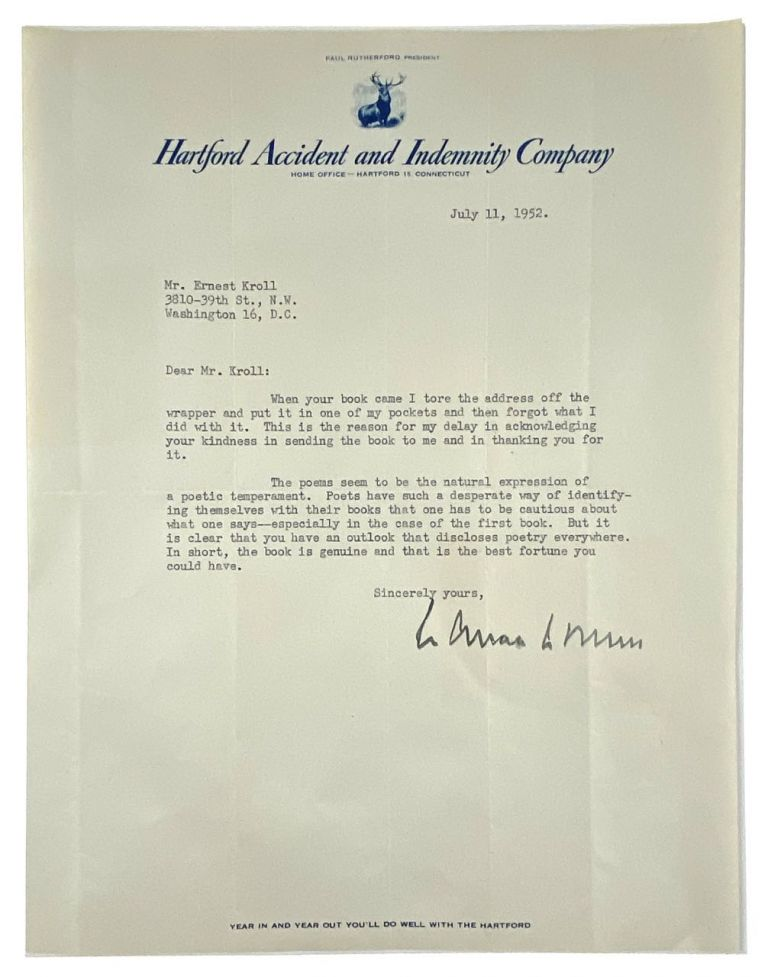 [Stevens, Wallace- Super TLS to Fellow Poet] Subtle, but Respectful Typed Letter Signed from Stevens to Ernest Kroll, Budding Poet and Later Noted Author. Wallace Stevens.