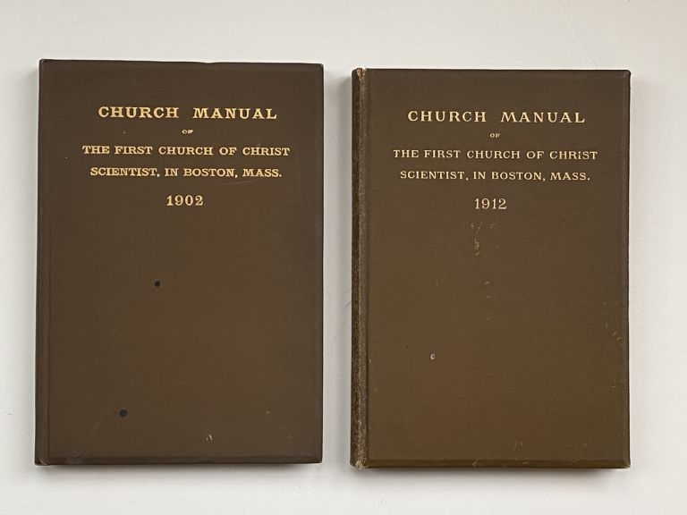 [Violet Oakley Interest- Inscribed by Oakley to Edith Emerson- Two Books] Church Manual of the First Church of Christ Scientist, In Boston Mass. 1902 [together with] The 1912 Edition. Mary Baker Eddy.