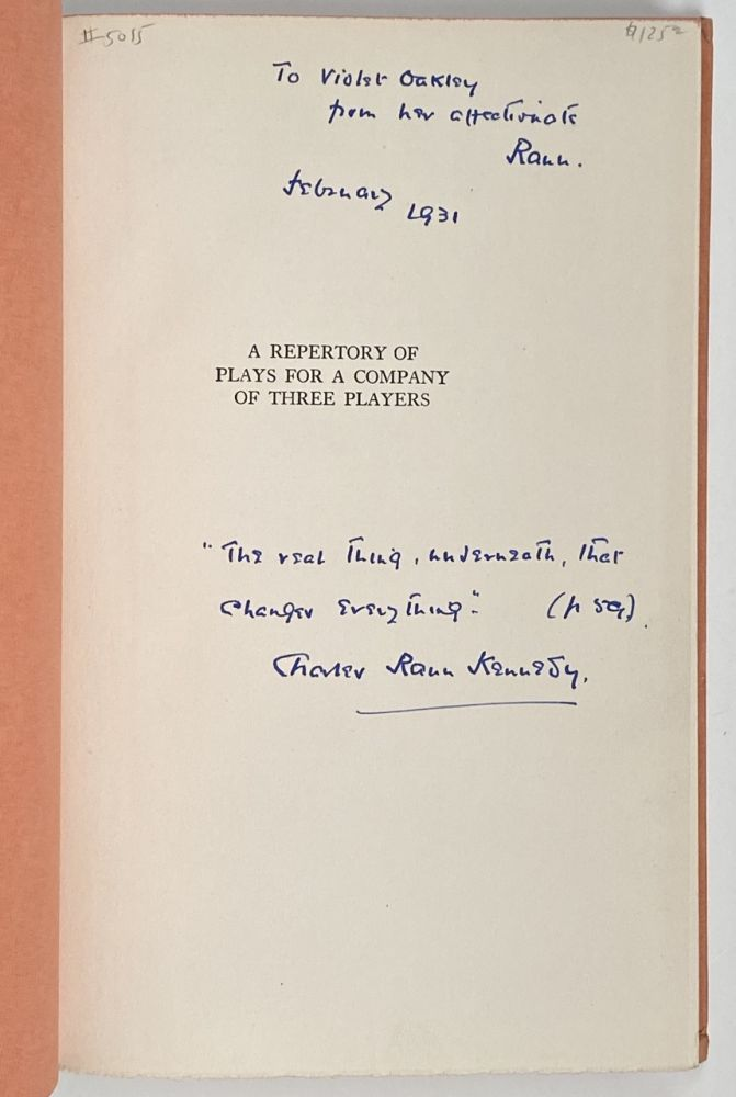 [Violet Oakley Interest- Inscribed by Author to Oakley] A Repertory of Plays for a Company of Three Players. Charles Rann Kennedy.