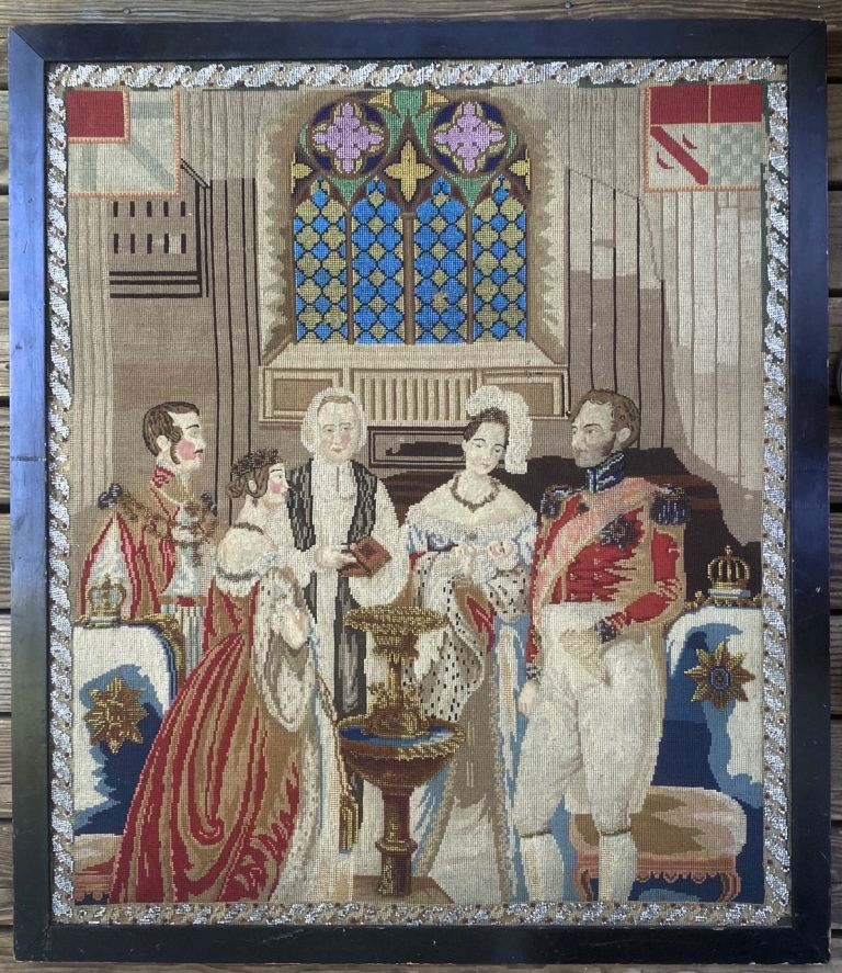 [Victoria, Queen- Fine Petit Point of Victoria and Albert] Attending an Infant Baptism, ca. 1840