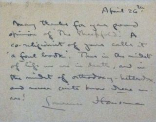 [A.C.S.] Laurence Housman to Margaret Sharples