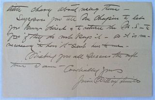 Smith, Jessie Willcox] Autograph Letter Signed. Jessie Willcox- ALS Smith