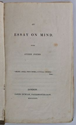 [Browning, Elizabeth Barrett] An Essay on Mind, with other Poems [The Doheny Copy]