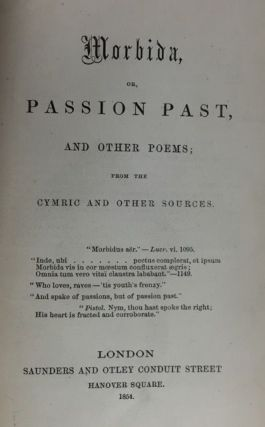 Morbida, or, Passion Past, and Other Poems. or Morbida, Passion Past