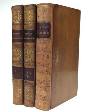 [Bewick, Thomas] A History of British Birds (Land and Water Birds, Two Volumes, Uniformly Bound [together with] A General History of Quadrupeds. Thomas Bewick.