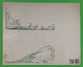 [Wiener Werkstatte] Two Drawings, partially colored in green. Carl Otto Czeschka, - Original Drawings.