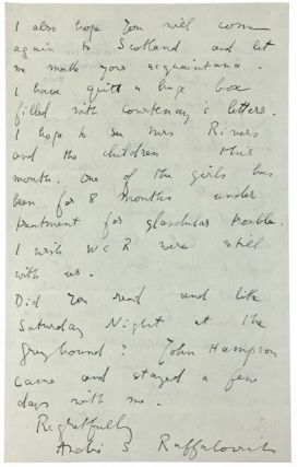 ALS- Raffalovich, Marc Andre] Autograph Letter Signed to Osbert Burdett, author. Marc Andre...