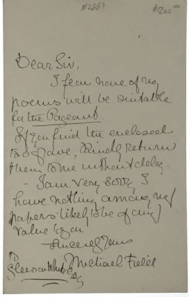 ALS- Field, Michael] Autograph Letter to famed editor Gleeson White. Michael Field