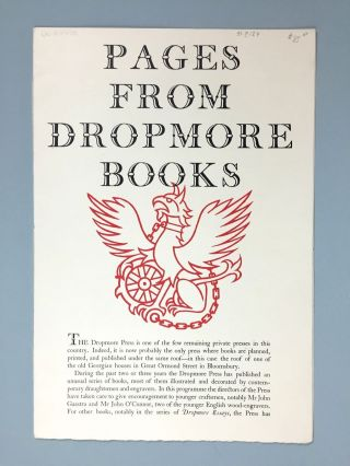 Dropmore Press] Pages From Dropmore Books [1949
