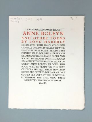 "Gregynog Press] Two Specimen Pages from ""Anne Boleyn and Other Poems by Loyd Haberly"