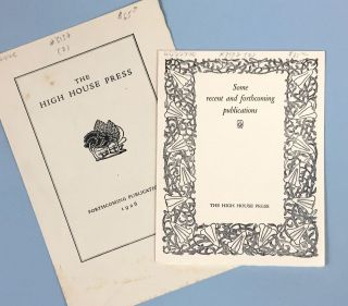 High House Press] Two Prospectuses, 1926, 1928