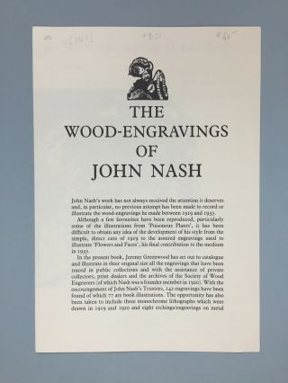 "Wood Lea Press] Prospectus and Specimens for ""The Wood-Engravings of John Nash"""