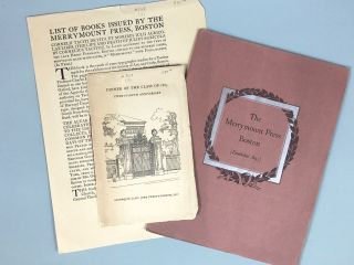"Merrymount Press] ""The Merrymount Press, Boston"" and Two Other Ephemera"