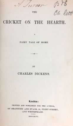 [Dickens, Charles] The Cricket on the Hearth: A Fairy Tale of Home