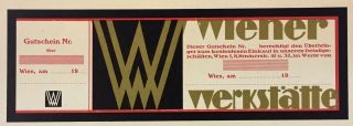[Wiener Werkstatte- Small Collection of Ephemera] Including the Rose Signet design by Kolo Moser and Josef Hoffmann, Voucher and Entrance Ticket to Exhibition.