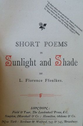Presentation Copy] Short Poems in Sunlight and Shade. L. Florence Ffoulkes