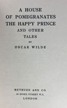 [Wilde, Oscar- One of 80 Copies] A House of Pomegranates