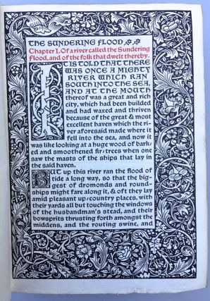 "[Kelmscott Press- ""From May Morris,"" A.C. RIckett's Copy] The Sundering Flood, Kelmscott Press, Inscribed ""From May Morris, 1907."" Ownership initials A.C.R."