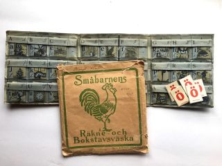 "Alphabet Oddity- Scarce Pocket Book] ""Smabarnens; Rakne-och Bokstavsvaska"" [""Count and Letter..."