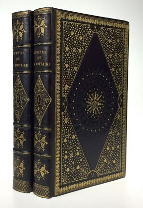 Fables of Fontaine- Magnificent Binding, Masterpiec of 18th Cenutry Engraving] Contes et...
