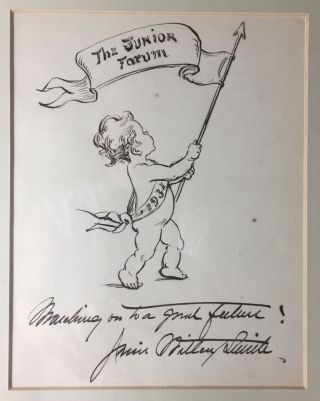 "[Smith, Jessie Willcox- Original Presentation Pen and Ink Drawing and Inscription] ""The Junior Forum"" Jessie Willcox Smith."